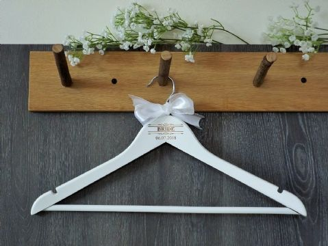 Personalised White Wooden Wedding Hanger with Bow - Scroll